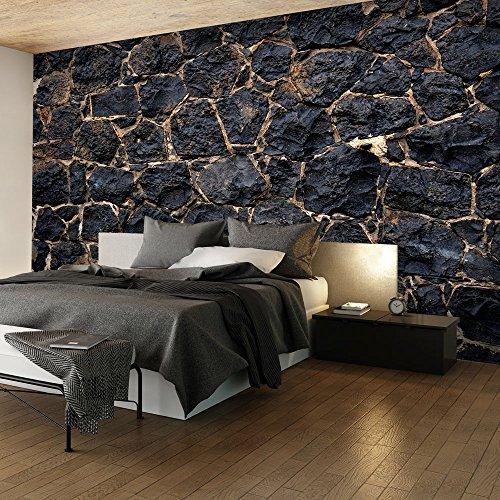 murando - Fototapete 50x35 cm - Vlies Tapete - Moderne Wanddeko - Design Tapete - Wandtapete - Wand Dekoration - Steine Steinoptik schwarz f-A-0526-a-b