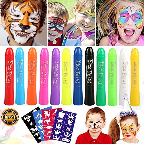 Buluri Gesichtsfarbe für Kinder, 12 Farben Gesicht Körper Malerei Kits Sicher und Ungültig Professionelle Schminke Sets mit 40 Schablonen, perfekt für Karneval, Ostern, Cosplay, Mottopartys