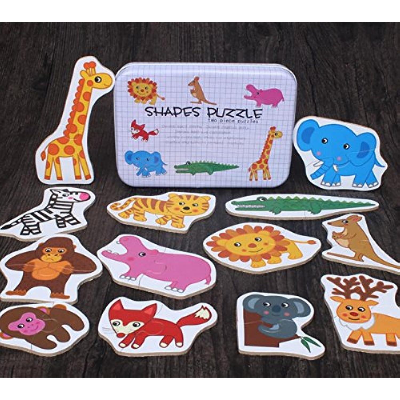 Puzzle Puzzle Puzzle jouet éducatif Puzzle éducatif en bois Early Learning Nombre Formes Couleur Animal Toy Fantastic Cadeaux pour les enfants (Animal de la forêt) fb3157