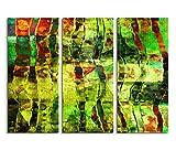 3x40x90cm (Gesamt:130x90cm) 3teiliges Bild auf Leinwand Acryl Malerei abstrakt rot gelb grün Wandbild auf Leinwand als Panorama