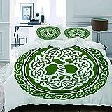 HUAYEXI Set Copripiumino,Illustrazione dell'albero della Vita Celtico su Un Cerchio Verde con Il fregio,Copripiumino 140x200cm 2 Federe (50x80cm)