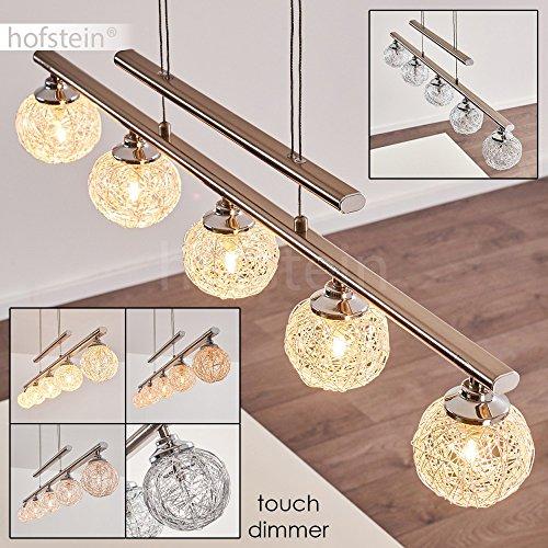 Moderne LED-fähige Pendelleuchte Elim aus Metall in Nickel matt – 5-flammiger Deckenstrahler mit G4-Fassungen – Zimmerleuchte für Esszimmer – Wohnzimmer – Flur – höhenverstellbar mit Touchdimmer