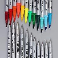 Shoppertize Dual Tip Brush Pens Fineliner Pens (0.4mm tip), Calligraphy Pens Set of 12 Colour Pens, Sketch Pens, Drawing…