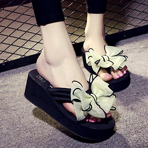 Cwjdtxd pantofole estive leggero sandali e ciabatte da donna 40 metri a spina di pesce con pinne a spina di pesce vacanze nere donne rosse al mare estate, 36 adatto per 35 piedi di usura, 6cm nero + fiocco bianco fluorescente
