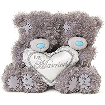 """2 x 4"""" Just Married Padded Heart Me to You Wedding Bears"""