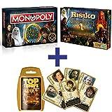 Herr der Ringe Set Bundle | Risiko + Monopoly + Top Trumps | Brettspiel | Gesellschaftsspiele | Spiele | Deutsch