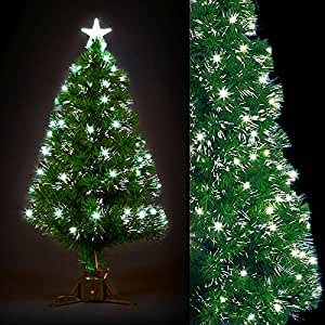 Faseroptik Weihnachtsbaum H 100cm LED mit contrôleur-cool weiß