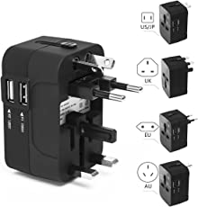 RedRiver Stromadapter: Universal USB reiseadapter mit 2 USB-Ports aus 150 Ländern weltweit US UK EU AU Universal fusionierten Sicherheit AC-in Einem Ladegerät mit LED-Betriebsanzeige (Schwarz)