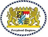 8 x 10 cm - Konturschnitt - Autoaufkleber Freistaat Bayern mit Löwenwappen Sticker Aufkleber fürs Auto Motorrad Handy Laptop outdoor / indoor