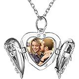 Custom4U Collane personalizzate, medaglioni con ciondolo foto in argento sterling 925 per ragazze, collana incisa con nome, 1