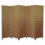 Homestyle4u 5 tlg. Weiden Raumteiler Paravent Spanische Wand braun mit dunkelbraunem Muster