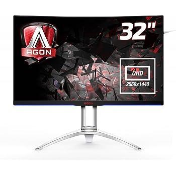 AOC AG322QCX 31.5 Inch Widescreen MVA LED Multimedia Curved Monitor (2560 x 1440/4 ms/VGA/2 x HDMI/2 x DP/USB) - Black/Silver