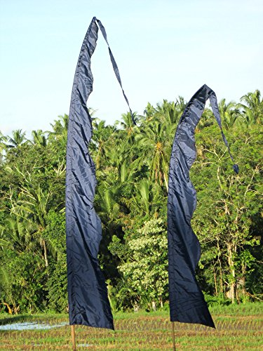 Bali-Fahne, schwarz mit Welle 5 Meter