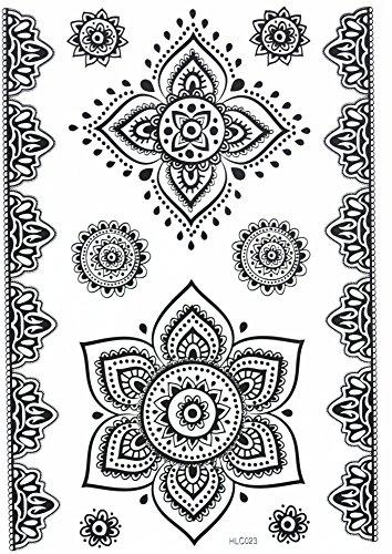 MANDALA HENNA NOIR tatouages temporaires au henné Henna pour le corps HC023