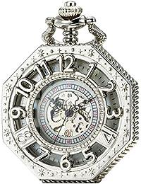 SEWOR octogonal negro esqueleto reloj de bolsillo Steampunk mecánica mano viento