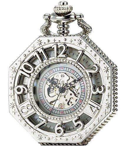 SEWOR Octagon Vintage Bat Style Mechanical Hand Wind Pocket Watch Halloween Gift (Silver)