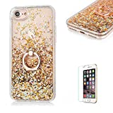 For iPhone 7 Plus Glitter Bling soft TPU+PC Case .Funyye New Creative Floating Water Liquid Small Love Hearts Design Luxury Sparkly Bling Glitter Back Hard Shell Protective Case Cover With Ring Holder Protective Case for iPhone 7 Plus 5.5'-Gold