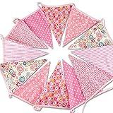12 Extra Wimpel Girlande Süße Bunting Wimpelkette Farbenfroh Wimpeln für Drauße