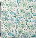 #6: Trade Star Floral Hand Block Print 100% Cotton Fabric by Meter Indian Voile Fabric