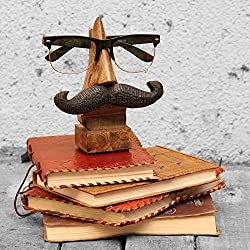 GREENTOUCH CRAFTS Wood Hand Carved Wooden Spectacle Holder With An Amusing Moustache , Beige