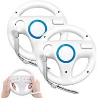 Wii Steering Wheel, PowerLead 2 pcs white Wii Controller Steering Mario Kart Racing Wheel Game Controller for Nintendo Wii Remote Game-White