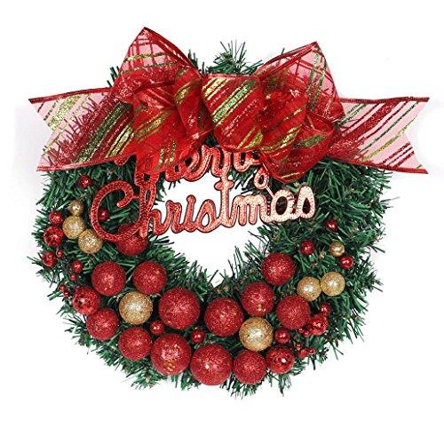 Routinfly Girlande, Frohe Weihnachten Kranz Fenster Tür Dekorationen Goldpulver Ball Ornament 30 cm (Red) (Kürbis-ball Ornament)