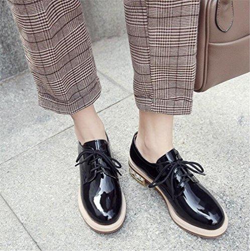 pour verni Oxford Taille Talon Sole Cuir femmes black 36To41 Chaussures perlé Lacer 4Wc6FAd4n7