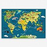 ge-Bildet® hochwertiges Leinwandbild XXL Weltkarte für Kinder - Dunkelblau bild für kinderzimmer - Premium Leinwanddruck 120 x 80 cm einteilig 2200 L