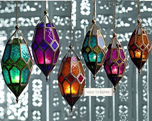 Authentic Moroccan Tonal Glass Hanging Lantern Tealight Holder (Small Orange)