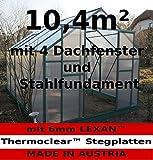 10,4m² PROFI ALU Gewächshaus Glashaus Treibhaus inkl. Stahlfundament u. 4 Fenster, mit 6mm Hohlkammerstegplatten - (Platten MADE IN AUSTRIA/EU) von AS-S