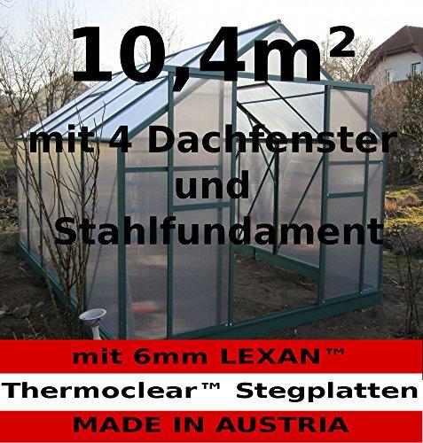 10,4m² PROFI ALU Gewächshaus Glashaus Treibhaus inkl. Stahlfundament u. 4 Fenster, mit 6mm Hohlkammerstegplatten – (Platten MADE IN AUSTRIA/EU) von AS-S