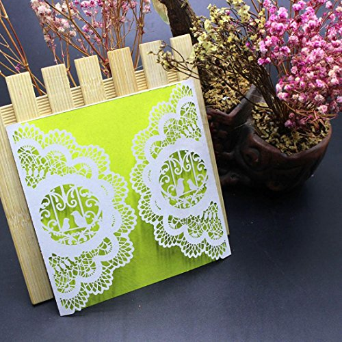 sunnymi 10Pcs Hochzeit Geburtstag Hohle Papierkarte weiß Einfarbige Einladungen,Hochzeit Einladungskarte Kit mit Umschlägen versiegelt personalisierte Druck (I, 10Pcs) (Hochzeit Einladung-kit Braut)