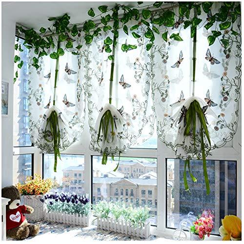 CYSTYLE 1er Tüll Schmetterling Raffrollos Fenster Vorhang Gardinen Fensterschal Dekoschal für Wohnzimmer Kinderzimmer Schlafzimmer (Weiß, 80 W*100 H cm)