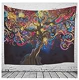 DMMASH Großer Baum-Ethnischer Art-Strand-Tuch-Abdeckungs-Tuch-Traditioneller Hippie-Baumwollteppich, Wand-Hängen, Böhmen-Wand,B,150*200Cm
