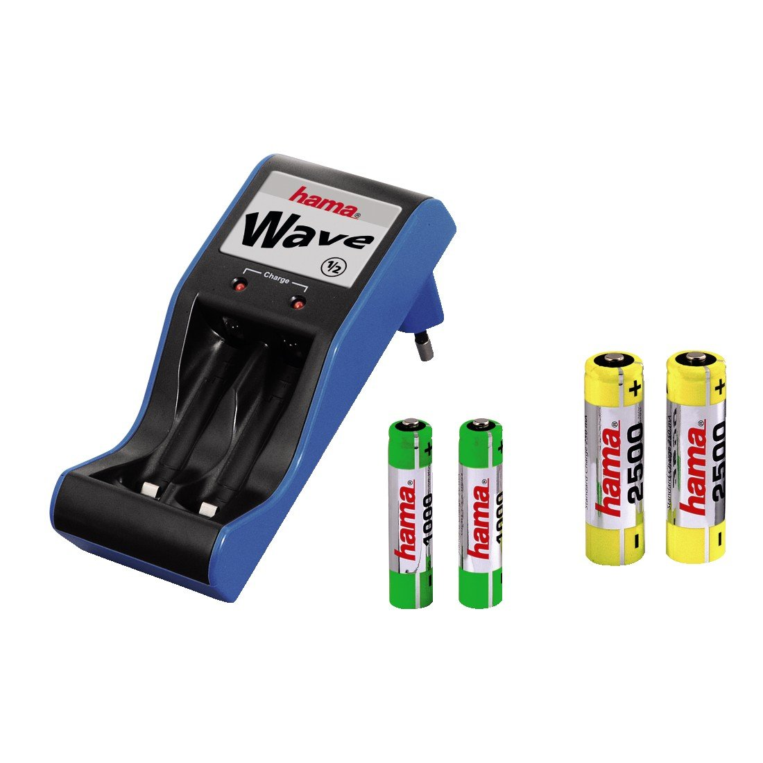 Hama Steckerladegerät Wave Set 2x AA 2500 und 2x AAA 1000, Schwarz/Blau