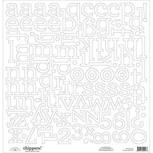 Doodlebug Chippers Monochromatic Chipboard Alphabet Stickers, 12-Inch by 12-Inch by DOODLEBUG -