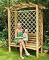 G&C Linton Pergola aus Holz – mit Bank, Seitengittern und Rosenbogen – Maße: H208 x 180 x 85 cm von Jagram - Gartenmöbel von Du und Dein Garten