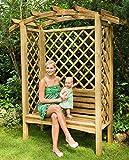 G&C Linton Pergola aus Holz – mit Bank, Seitengittern und Rosenbogen – Maße: H208 x 180 x 85 cm