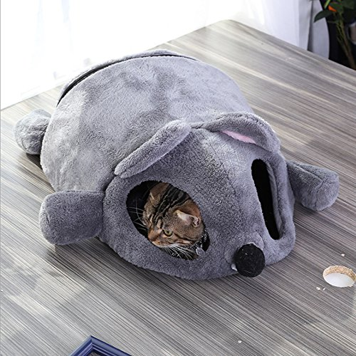 Haustier Katze Bett Den Nest,Karikatur Mausform Haus Bett Zelt Innen Katzenhaus mit Entfernbar Matte und Reißverschluss Unterseite (Grau) -