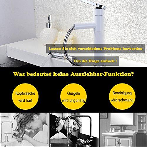 Homelody – Waschtisch-Einhebelarmatur, Schwenkauslauf 360°, herausziehbarer Brausekopf, Weiß-Chrom - 3