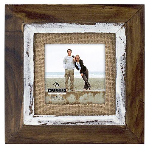 Malden International Designs in rustikaler Holz Fashion Zwei Ton Zeder Bild Rahmen mit Jute Matte Bilderrahmen, 4x braun, 4