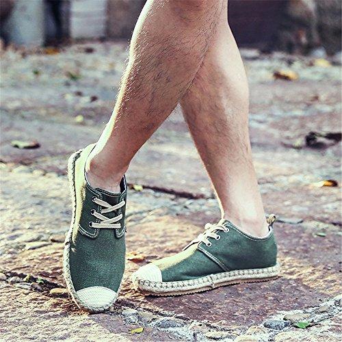 uomini espadrilli, moda casual, espadrilli uomini grandi metri di tela scarpe Military green