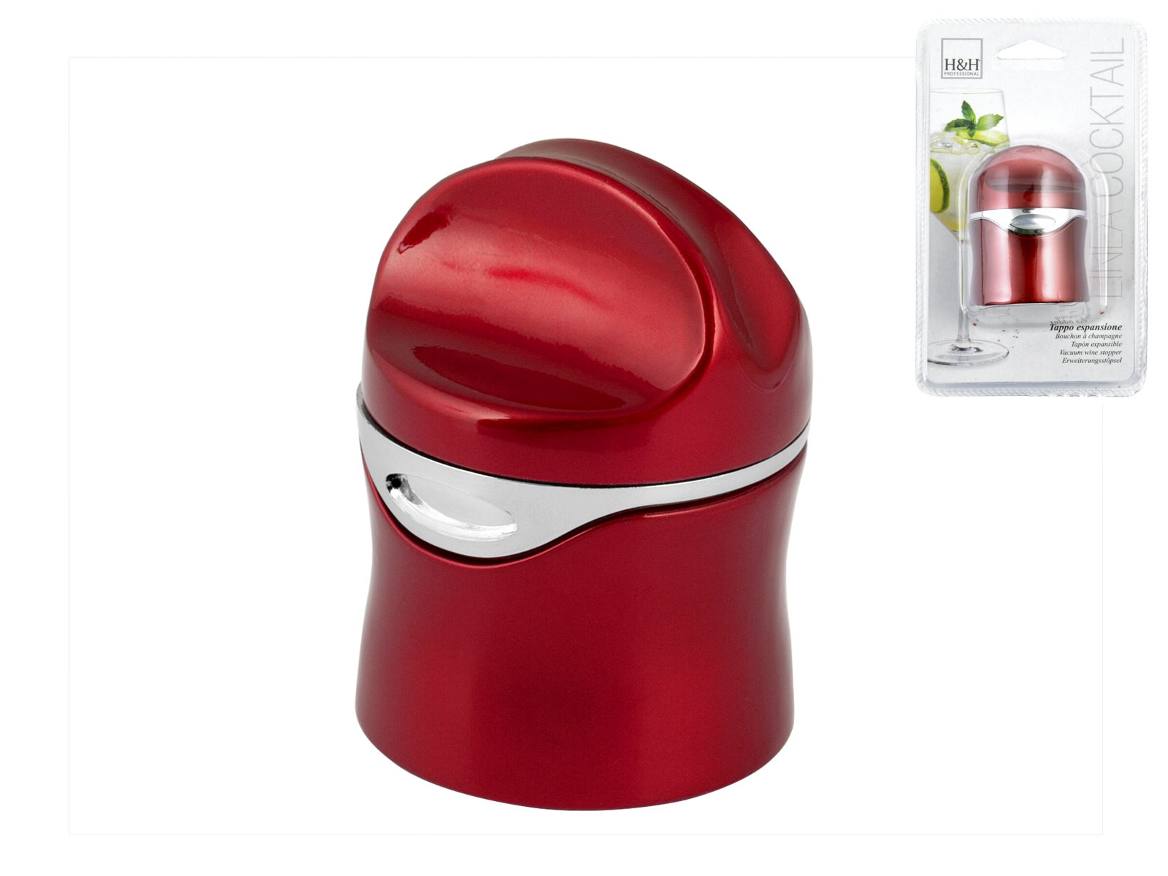 H&H Set 6 Tappi a espansione plastica rossa Bottiglie Arredo tavola