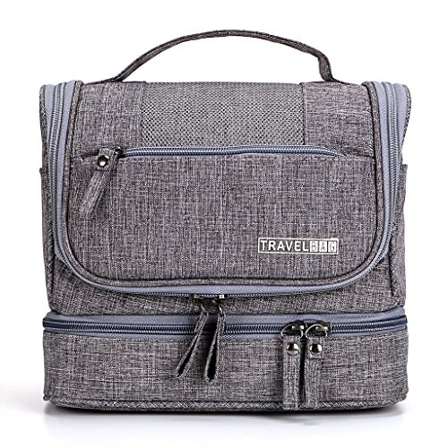 Men's Hanging Wash Bag  / Shaving Bag - Dry & Wet Separation - Grey