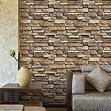 stickers muraux , 3D imperméable à l'eau de papier de mur de briques en pierre rustique effet autocollant mural amovible à la maison décor,45 * 100cm (Multicolor) (A)