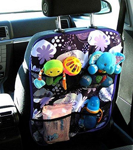Auto Rücksitz Organizer Multi Tasche Rückenlehnenschutz Sitzschoner Lehnenschutz BLUMEN LILA WEIß nr 4 [030]