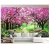 WH-PORP Benutzerdefinierte 3D Tapete Sakura Woods Garten Weg Landschaft Wall Hintergrund Foto Wandbild Tapete Kontakt-200cmX140cm