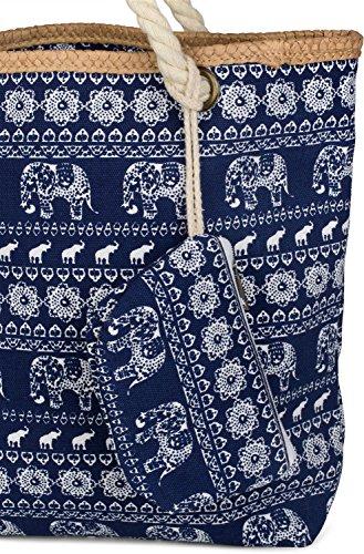styleBREAKER borsone da spiaggia con design etnico con elefanti e chiusura con cerniera, borsa a tracolla, borsa per shopping, donna 02012063, colore:Dunkelblau Dunkelblau