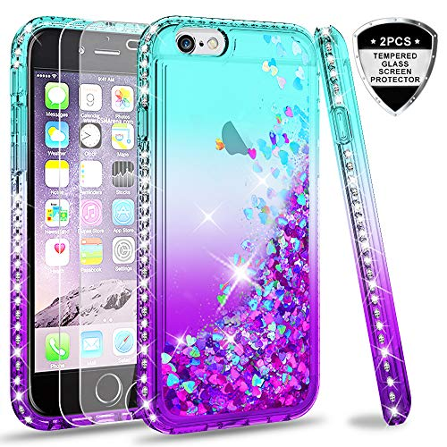LeYi Hülle iPhone 6 / iPhone 6S Glitzer Handyhülle mit Panzerglas Schutzfolie(2 Stück),Cover Diamond Bumper Schutzhülle für Case iPhone 6 / iPhone 6S Handy Hüllen ZX Gradient Turquoise Purple -