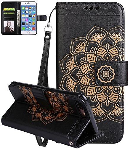 Coque Apple iPhone 7 Plus, iPhone 7 Plus coque silicone, Roreikes Housse Etui pour iPhone 7 Plus/iPhone 8 plus nouvelle boutique Folio portefeuille / portefeuille étui en cuir PU de haute qualité cuir Noir